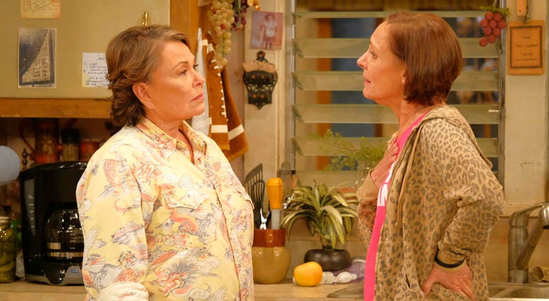 Rosanne Barr and Laurie Metcalf