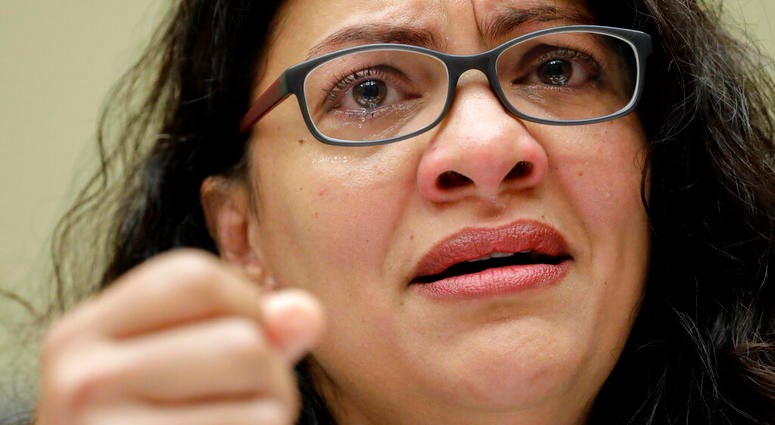 Rep. Rashida Tlaib, D-Mich., Rep. Veronica Escobar, D-Texas, gestures while testifying before the House Oversight Committee hearing on family separation and detention centers, Friday, July 12, 2019 on Capitol Hill in Washington