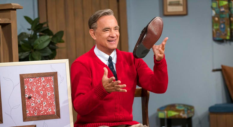 """Tom Hanks as Mister Rogers in a scene from """"A Beautiful Day In the Neighborhood,"""" in theaters on Nov. 22."""