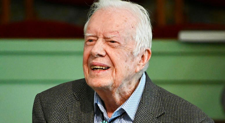 In this Nov. 3, 2019 file photo, former President Jimmy Carter teaches Sunday school at Maranatha Baptist Church in Plains, Ga. Carter was released from Emory University Hospital