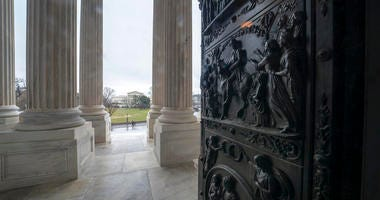 The ornate doors to the Senate are seen at the Capitol in Washington