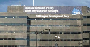 a retirement advertisement sign is shown on a building in Washington.