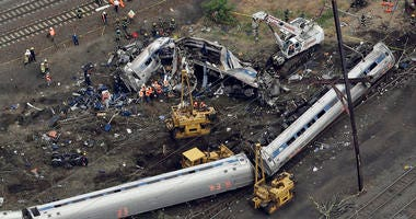 A New York City-bound Amtrak passenger train following a derailment that killed eight people and injured about 200 others in Philadelphia.