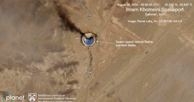 a fire at a rocket launch pad at the Imam Khomeini Space Center in Iran's Semnan province,