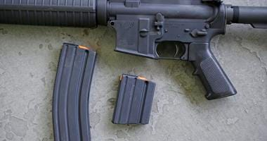 a stag arms AR-15 rifle with 30 round, left, and 10 round magazines