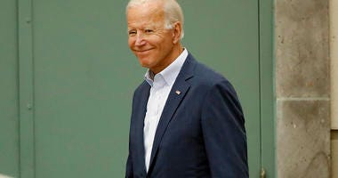 Democratic presidential candidate former Vice President Joe Biden walks outside of Pasadena City College during a campaign stop Thursday, Sept. 26, 2019, in Pasadena, Calif.