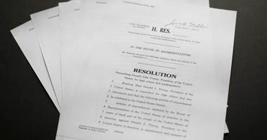 Copy of the Articles of Impeachment, Tuesday, Dec. 10, 2019 in Washington.