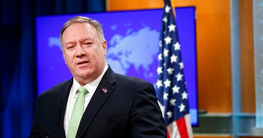 Secretary of State Mike Pompeo speaks during a media availability at the State Department, Wednesday, Dec. 11, 2019, in Washington.