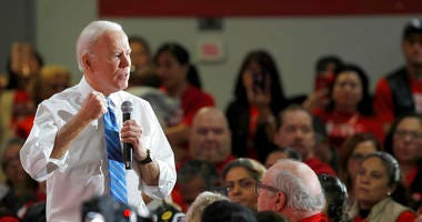 Democratic presidential candidate and former Vice President Joe Biden speaks during town hall meeting at the Culinary Union, Local 226, headquarters in Las Vegas Wednesday, Dec. 11, 2019.