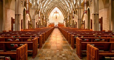 Interior of contemporary cathedral - stock photo