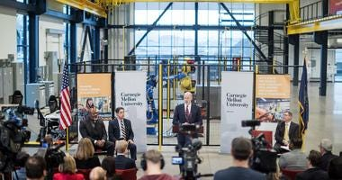 Pennsylvania Governor Tom Wolf speaks during a press conference, which announced an ambitious budget proposal to fuel innovation across Pennsylvania, inside Mill 19 in Pittsburgh on Friday, January 24, 2020.