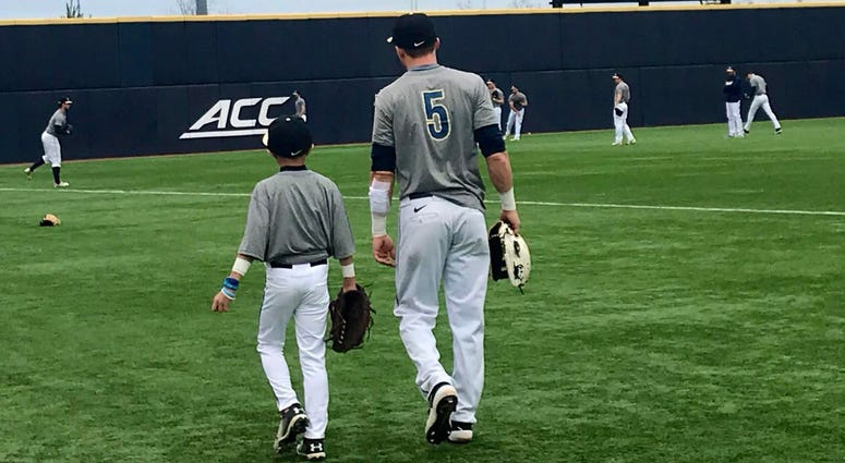 Pitt baseball CF Connor Perry with Keagan Dowd in 2019