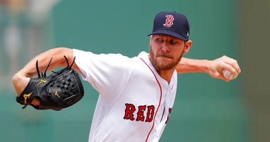 Boston Red Sox starting pitcher Chris Sale (41) works in the first inning of a spring training baseball game against the Atlanta Braves Saturday, March 16, 2019, in Fort Myers, Fla. (