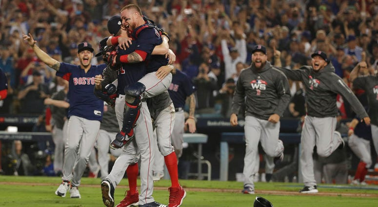 The Boston Red Sox celebrate after Game 5 of baseball's World Series