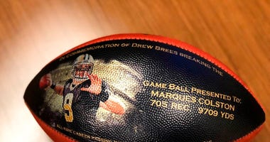 New Orleans Saints shows a custom made football