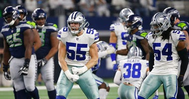 Dallas Cowboys Dallas Leighton Vander Esch (55) and Jaylon Smith (54) celebrate a defensive play against the Seattle Seahawks