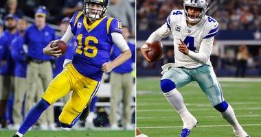 Los Angeles Rams quarterback Jared Goff. At right, Dallas Cowboys quarterback Dak Prescott