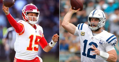 Kansas City Chiefs quarterback Patrick Mahomes, Indianapolis Colts quarterback Andrew Luck