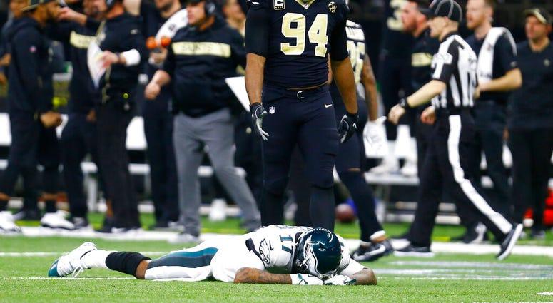 Philadelphia Eagles wide receiver Alshon Jeffery (17) lies on the turf