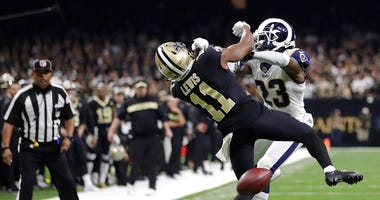 New Orleans Saints wide receiver Tommylee Lewis (11) works for a coach against Los Angeles Rams defensive back Nickell Robey-Coleman