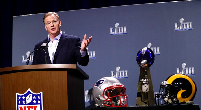 NFL Commissioner Roger Goodell answers a question during a news conference for the NFL Super Bowl 53 football game Wednesday, Jan. 30, 2019, in Atlanta.