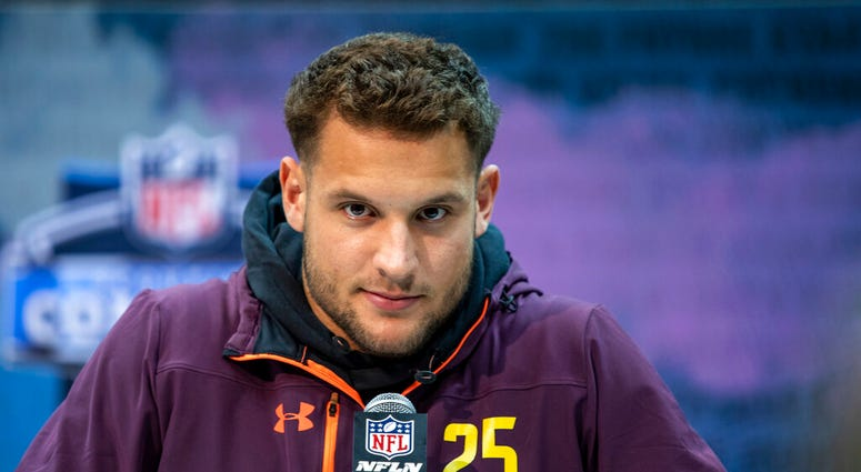 Ohio State defensive lineman Nick Bosa talks to the media at the NFL Scouting Combine on Saturday, March 2, 2019 in Indianapolis.