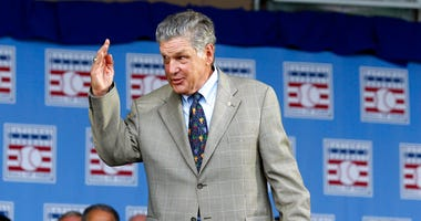 National Baseball Hall of Famer Tom Seaver arrives for an induction ceremony at the Clark Sports Center in Cooperstown, N.Y.