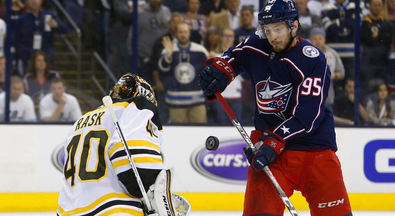 Boston Bruins' Tuukka Rask, left, of Finland, makes a save against Columbus Blue Jackets' Matt Duchene during the second period of Game 6 of an NHL hockey second-round playoff series Monday, May 6, 2019, in Columbus, Ohio.