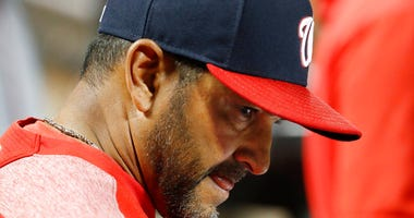 Washington Nationals manager Dave Martinez reacts in the dugout during the eighth inning of the team's 6-1 loss to the New York Mets in a baseball game Wednesday, May 22, 2019, in New York.