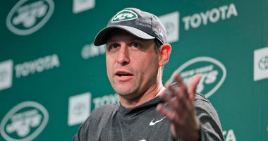 New York Jets head coach Adam Gase takes questions from reporters before the NFL football team's practice in Florham Park, N.J., Thursday, May 23, 2019.