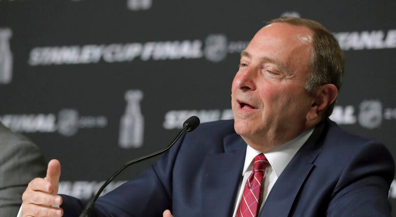 NHL Commissioner Gary Bettman speaks to the media before Game 1 of the NHL hockey Stanley Cup Final between the St. Louis Blues and the Boston Bruins, Monday, May 27, 2019, in Boston
