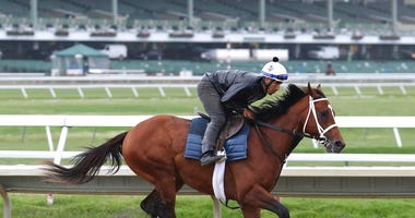Maximum Security, ridden by exercise rider Edelberto Rivas, gallops during a workout at Monmouth Park, Thursday morning, June 13, 2019, in Oceanport, N.J. Maximum Security will make his next start in Sunday's $150,000 Pegasus Stakes horse race at the trac