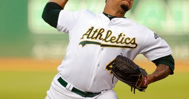 Oakland Athletics pitcher Frankie Montas works against the Tampa Bay Rays during the first inning of a baseball game Thursday, June 20, 2019, in Oakland, Calif.