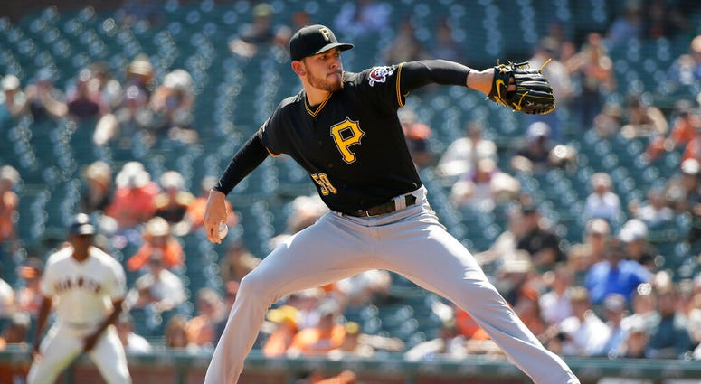 Pittsburgh Pirates starting pitcher Joe Musgrove works in the first inning of a baseball game against the San Francisco Giants, Thursday, Sept. 12, 2019, in San Francisco.
