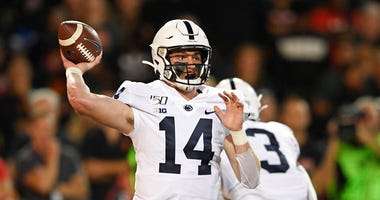 Penn State quarterback Sean Clifford passes during the first half of an NCAA college football game against Maryland, Friday, Sept. 27, 2019, in College Park, Md.
