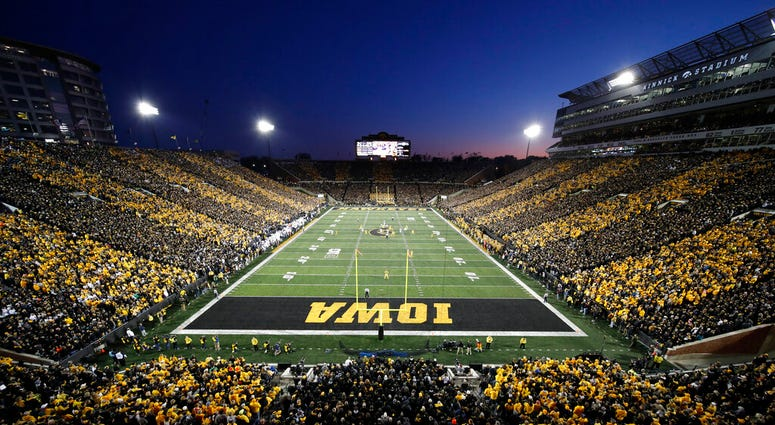 Iowa plays Penn State during the first half of an NCAA college football game at Kinnick Stadium, Saturday, Oct. 12, 2019, in Iowa City, Iowa. Penn State won 17-12.