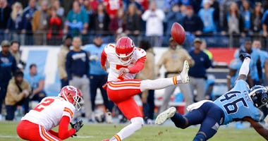 Tennessee Titans defensive back Joshua Kalu (46) blocks a 52-yard field goal attempt by Kansas City Chiefs kicker Harrison Butker (7) on the final play of an NFL football game Sunday, Nov. 10, 2019, in Nashville, Tenn. The Titans won 35-32.