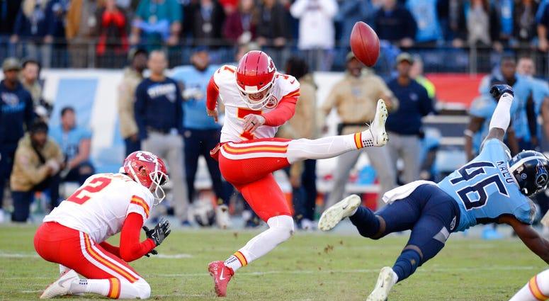 Tennessee Titans defensive back Joshua Kalu (46) blocks a 52-yard field goal attempt by Kansas City Chiefs kicker Harrison Butker (7) on the final play of an NFL football game Sunday, Nov. 10, 2019, in Nashville, Tenn. The Titans won 35-32.