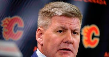 Calgary Flames NHL hockey team head coach Bill Peters