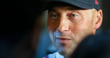 New York Yankees shortstop Derek Jeter speaks during the Baseball Hall of Fame press conference, Wednesday Jan. 22, 2020, in New York. Jeter and Colorado Rockies outfielder Larry Walker will both join the 2020 Hall of Fame class.