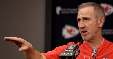 Kansas City Chiefs defensive coordinator Steve Spagnuolo addresses the media during an NFL football news conference Thursday, Jan. 23, 2020 at Arrowhead Stadium in Kansas City, Mo. The Chiefs will face the San Francisco 49ers in Super Bowl 54.