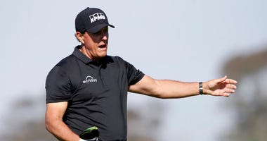 Phil Mickelson yells out as his shot from the fifth tee goes wide left on the Torrey Pines South Course during the first round of The Farmers Insurance golf tournament in San Diego, Thursday, Jan. 23, 2020.