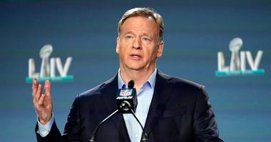 NFL Commissioner Roger Goodell answers a question during a news conference for the NFL Super Bowl 54 football game Wednesday, Jan. 29, 2020, in Miami.