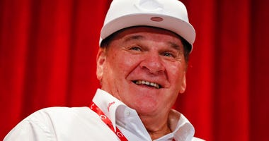 In this June 17, 2017, file photo, former Cincinnati Reds player Pete Rose attends a news conference during his statue dedication ceremonies before a baseball game between the Reds and the Los Angeles Dodgers