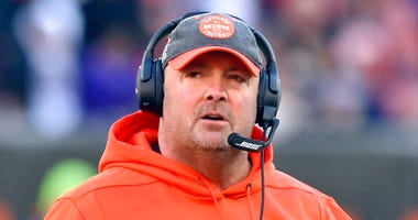 Cleveland Browns head coach Freddie Kitchens walks on the field during the fourth quarter of an NFL football game against the Baltimore Ravens in Cleveland. Recently fired Cleveland Browns coach Freddie Kitchens has been hired as the New York Giants tight