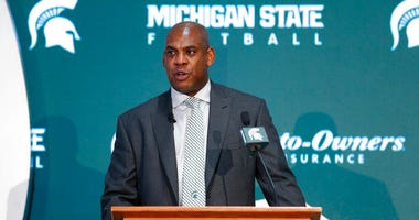 Mel Tucker, Michigan State's new football coach, speaks duirng a news conference Wednesday, Feb. 12, 2020, in East Lansing, Mich.
