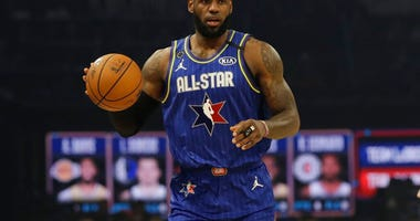 LeBron James of the Los Angeles Lakers dribbles during the first half of the NBA All-Star basketball game Sunday, Feb. 16, 2020, in Chicago.