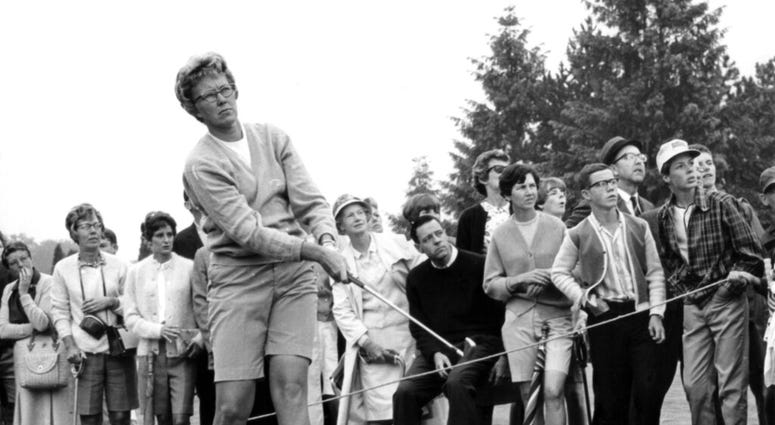 Mickey Wright's iron shot from the fairway at the Toronto Golf Club. Hall of Fame golfer Wright, who won 82 LPGA tournaments including 13 majors, died Monday, Feb. 17, 2020, of a heart attack, her attorney said. Wright was 85.