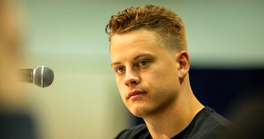 LSU quarterback Joe Burrow talks to the media at the NFL Scouting Combine on Tuesday, Feb. 25, 2020 in Indianapolis.