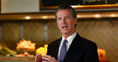 Gov. Gavin Newsom announces new criteria related to coronavirus hospitalizations and testing that could allow counties to open faster than the state, during a news conference at Mustards Grill in Napa, Calif., Monday May 18, 2020. Newsom says the new crit